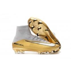 Nike Mercurial Superfly FG 5 DF CR7 Quinto Triunfo FG Scarpa da Calcio - Oro Bianco