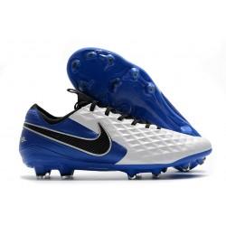 Scarpa Cuir Nike Tiempo Legend VIII Elite FG Bianco Blu Nero