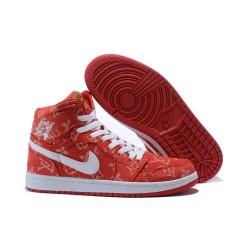 Nike Air Jordan1 Scarpe da Basket Uomo Rosso Bianco