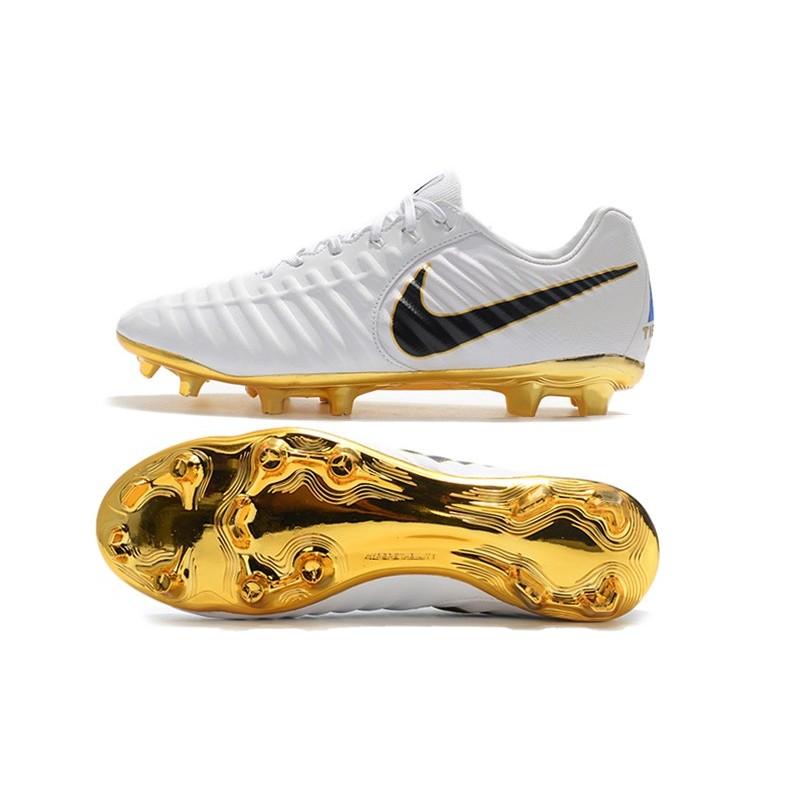 Nike Scarpa Tiempo Legend 7 FG Pelle di Canguro Bianca Oro