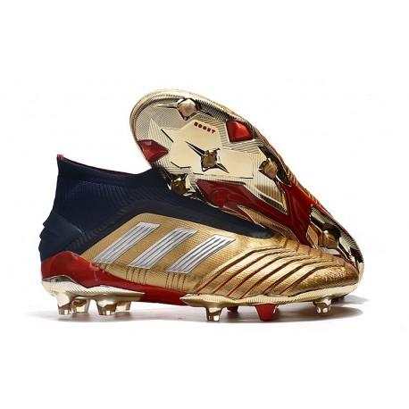 adidas Predator 19+ FG Scarpe da Calcio Uomo - Oro Argento Rosso