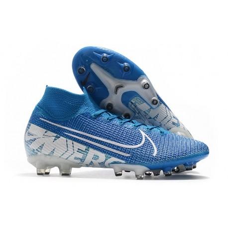 Nike Scarpa da Calcio Mercurial Superfly 7 AG-Pro Blu Bianco